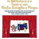 Locandina In biblioteca e a testro con Giulio Coniglio e Pimpa